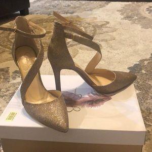 Jessica Simpson Gold / sparkle- heels